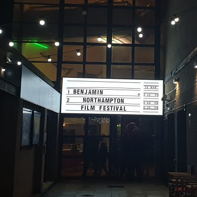 A cinema sign with