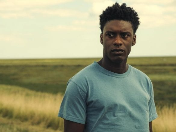 Sam Adewumni as Femi in The Last Tree stands looking pensively into the distance in a Lincolnshire fen.