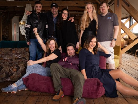 film cast on sofa