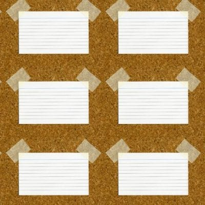 Index cards on a cork board ready to start mapping a feature film story.