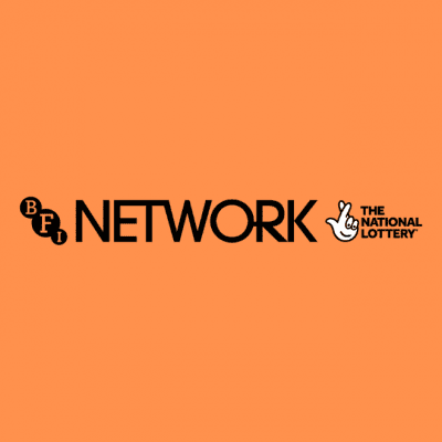 The BFI NETWORK logo in black on an orange background